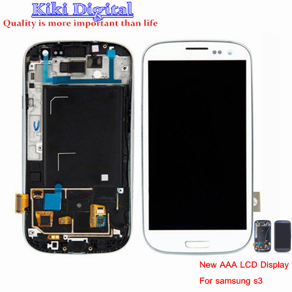 10pcs New AAA  LCD Display Touch Screen Digitizer Assembly For Samsung Galaxy S3 i9300 i9305 i747 T999 i535 with Frame