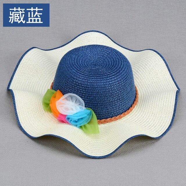 Mujeres sol del verano sombreros sombreros de playa para las mujeres de moda flor azul sol marca el sombrero de ala ancha sombreros para el sol para las mujeres con grandes cabezas