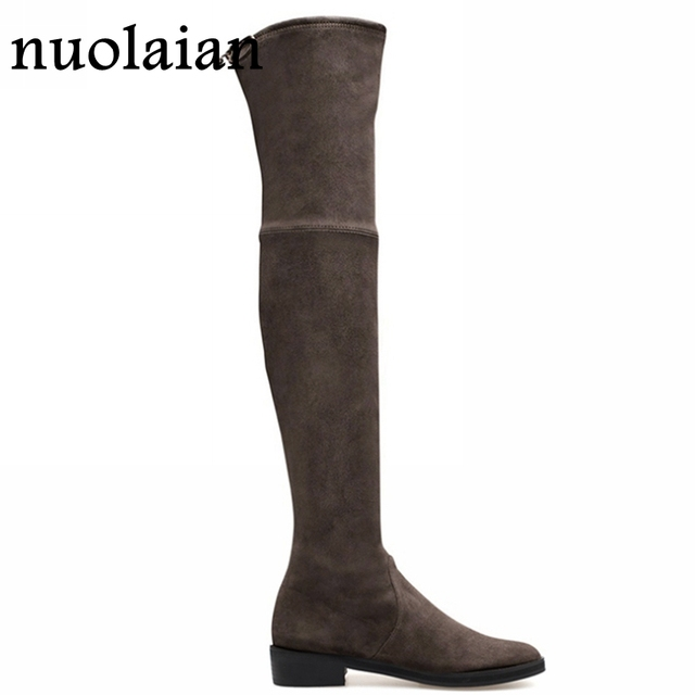 Womens Thigh High Punk Boots Ladies Over The Knee Boot Woman Faux Suede Winter Shoes Women Snow Winter Boots With Fur Shoe