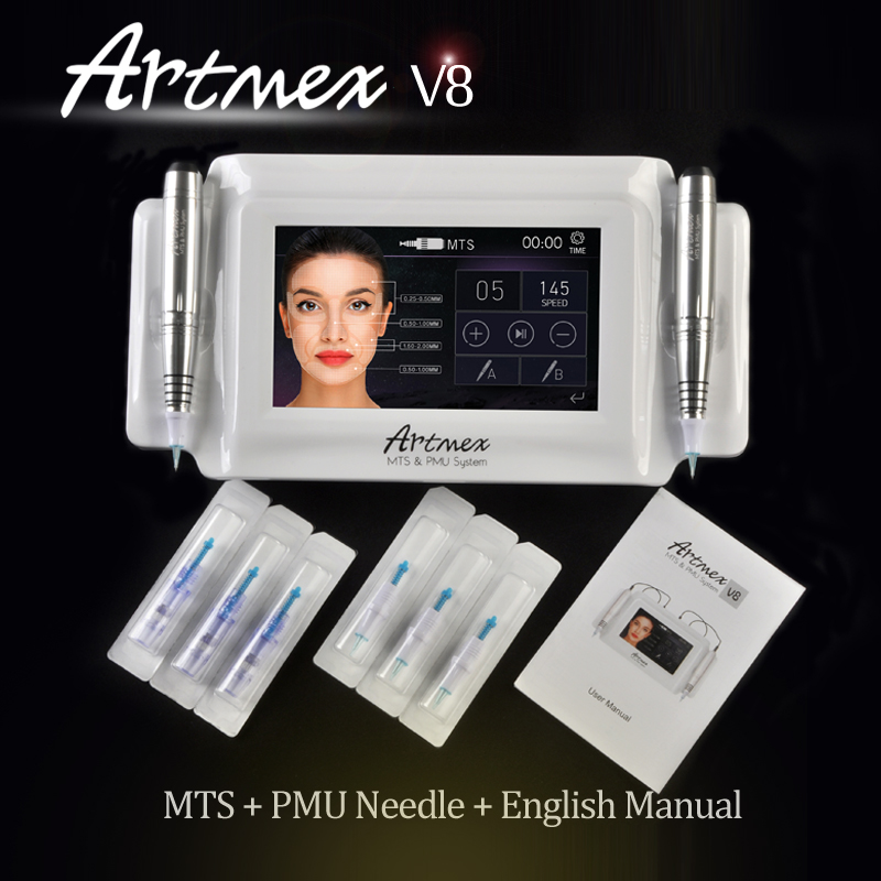 High Quality Permanent Makeup machine digital Artmex V8 touch Tattoo Machine set Eye Brow Lip Rotary Pen MTS System tattoo gun