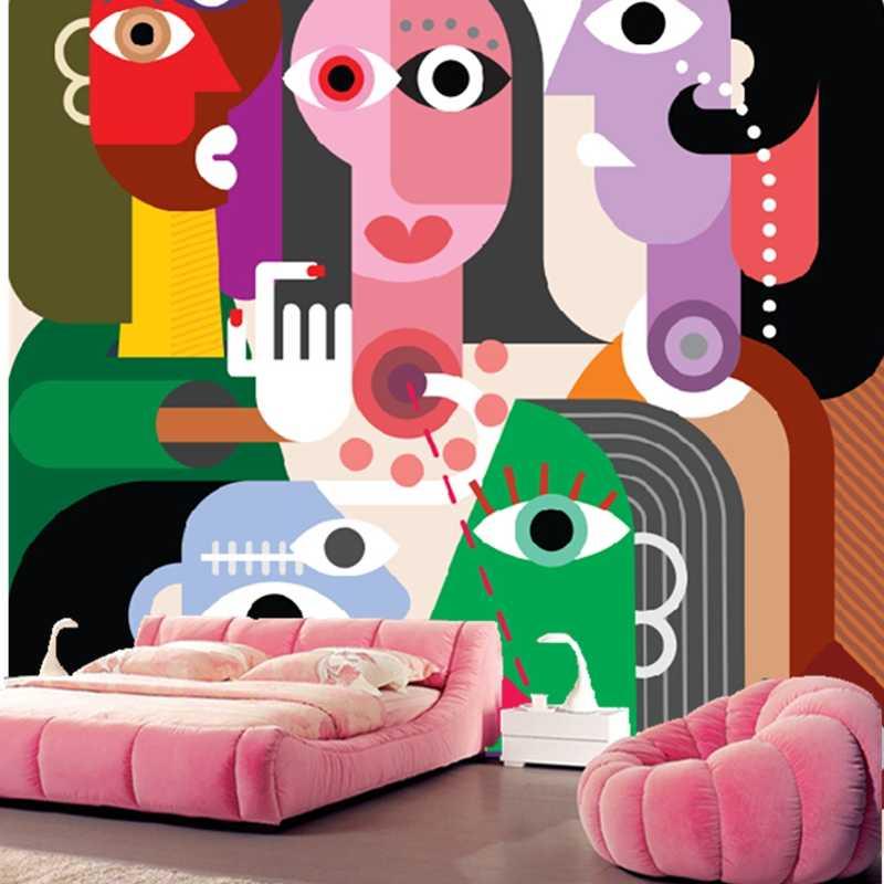 Benutzerdefinierte papel DE parede infantil, cartoon abstrakte frau wandbilder für kinder wohnzimmer TV wand wasserdichte tapete