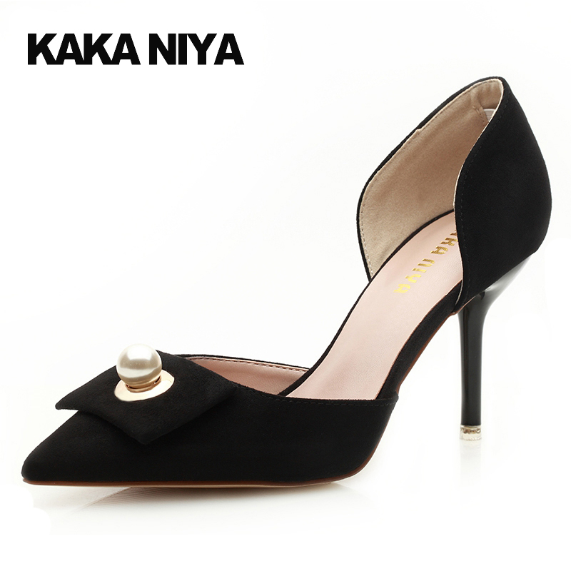 Footwear High Heels Navy Blue Pumps Stiletto 2017 Suede Female D'orsay Designer Pearl Ladies Size 4 34 Shoes Pointed Toe Black pointed toe dress shoes ladies pumps high heels ankle strap footwear 4 34 small size crystal stiletto 2017 7cm 3 inch silver
