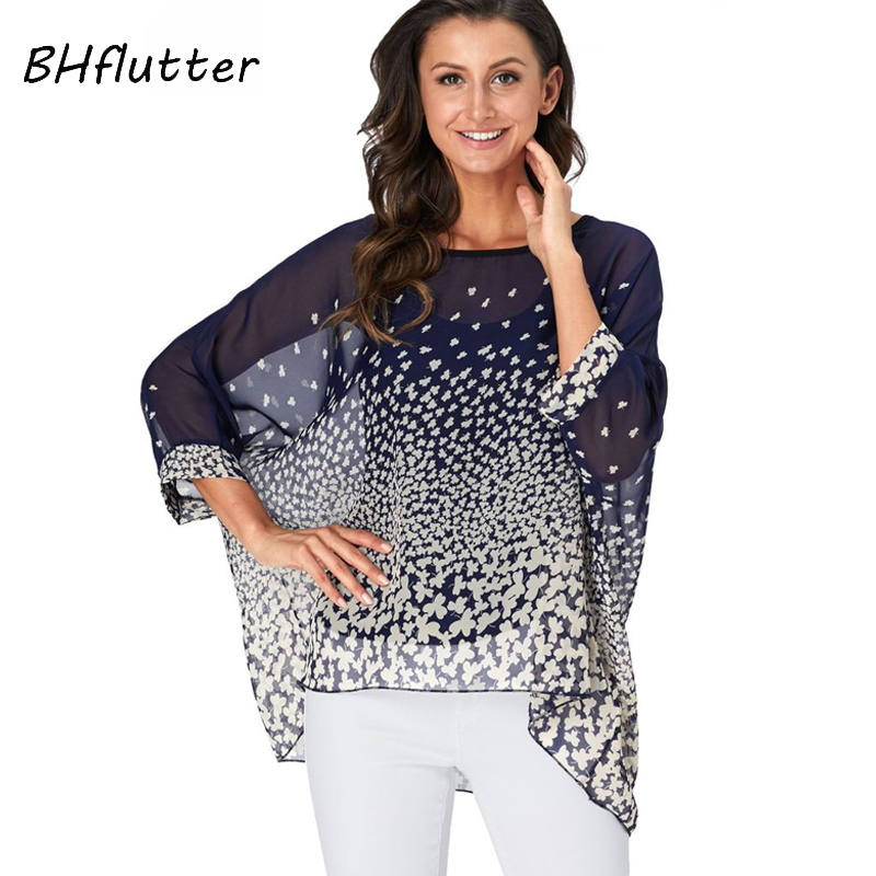 BHflutter 4XL 5XL 6XL Plus Size 2019 Blouse Women Chic Floral Print Chiffon Blouses Shirts Sexy Off Shoulder Summer Tops Tunic