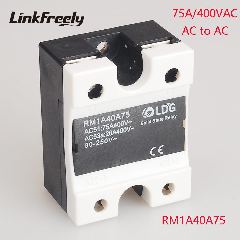 RM1A40A75 75A 220V AC AC Solid State Relay Output:42-440VAC Input:20-280VAC/22-48V DC SSR Relay Soft Starting Relay Switch Board