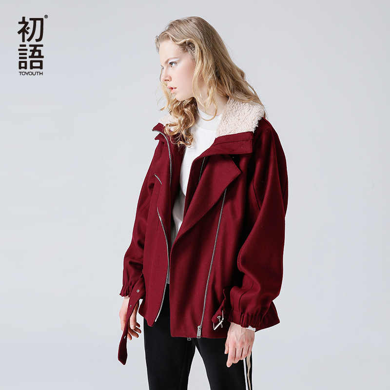 Toyouth Women Wool Blend Coat Woolen Coat 2019 Fashion Solid Color Belt Oversize Zipper Female Fur Collar Short Wool Coat