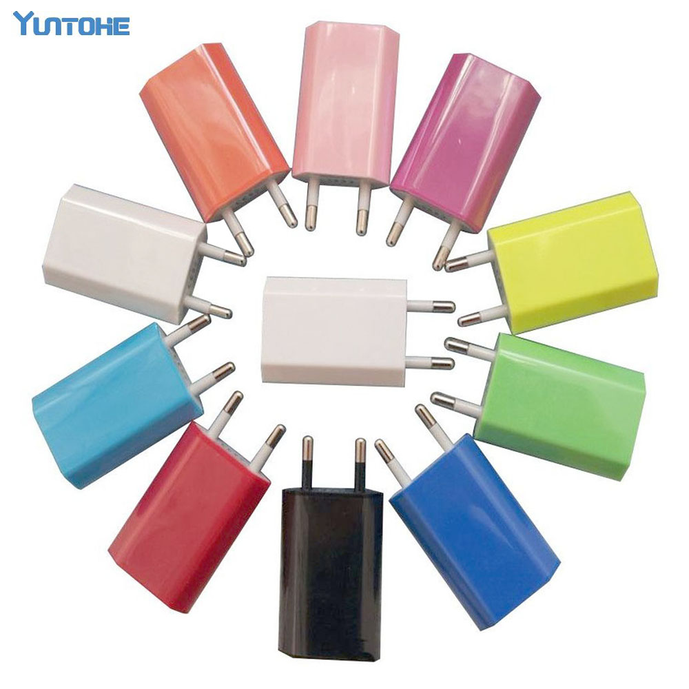 200pcs lot high Quality New White 10 colors EU USB Wall Home Charger AC Adapter EU