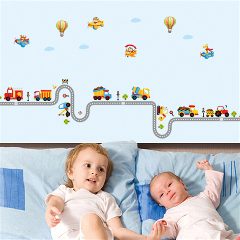 Children Cars Photo Wallpapers Cartoon Balloon Patter Wall Stickers for Living Room Home Decor Toilet Closestool Stickers Kids