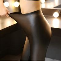 Autumn High Waist Slim No Trace Leather Pants Female Belly Pencil Wild Stretch Pu Leather Outside