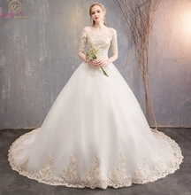 White Wedding Dress 2019 Summer New Off Shoulder Half Sleeves Tulle Strapless Court Train Lace-up Floor Length Ball Bridal Gown lace off shoulder half sleeves womens dress