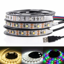 USB LED Strip Light 3528 RGB LED Strip Flexible Ribbon LED Tape With Mini 3 keys 50CM 1M 2M 3M 4M 5M FOR TV Background Lighting