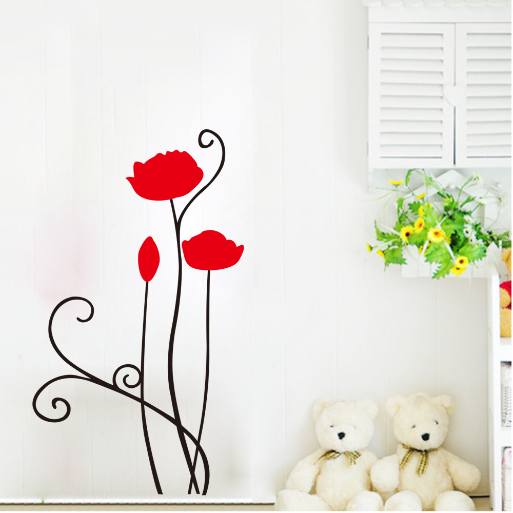 Monotonous Beauty Red Poppy Removable Wall Decals Home Decor Art