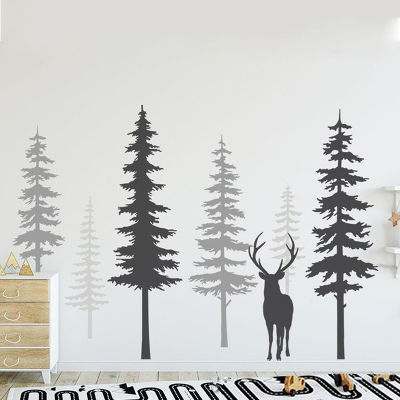 High Quality Nursery Wall Decal Pine Tree Wall Stickers Large Deer Wall Decal Removable Nursery Tree Mural Nature Decals ZW491