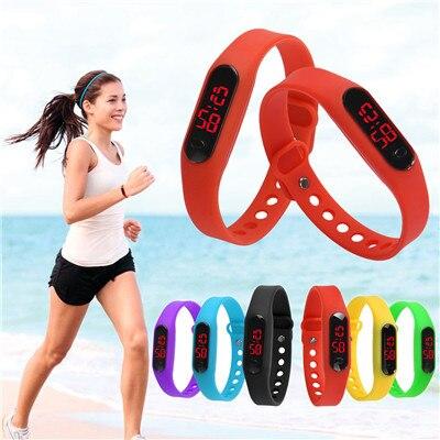 Delicate Sports Watches Digital Rubber LED Womens Mens Date Sports Bracelet Digi