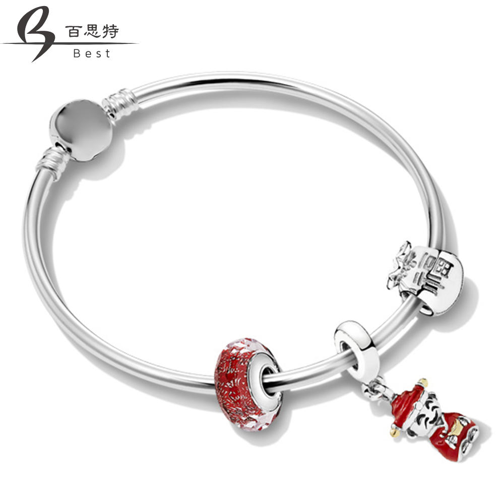 BEST 100% 925 Sterling Silver 1:1 ZT0237 Chinese New Year Greet Good Luck String Ornaments Bracelet SetBEST 100% 925 Sterling Silver 1:1 ZT0237 Chinese New Year Greet Good Luck String Ornaments Bracelet Set