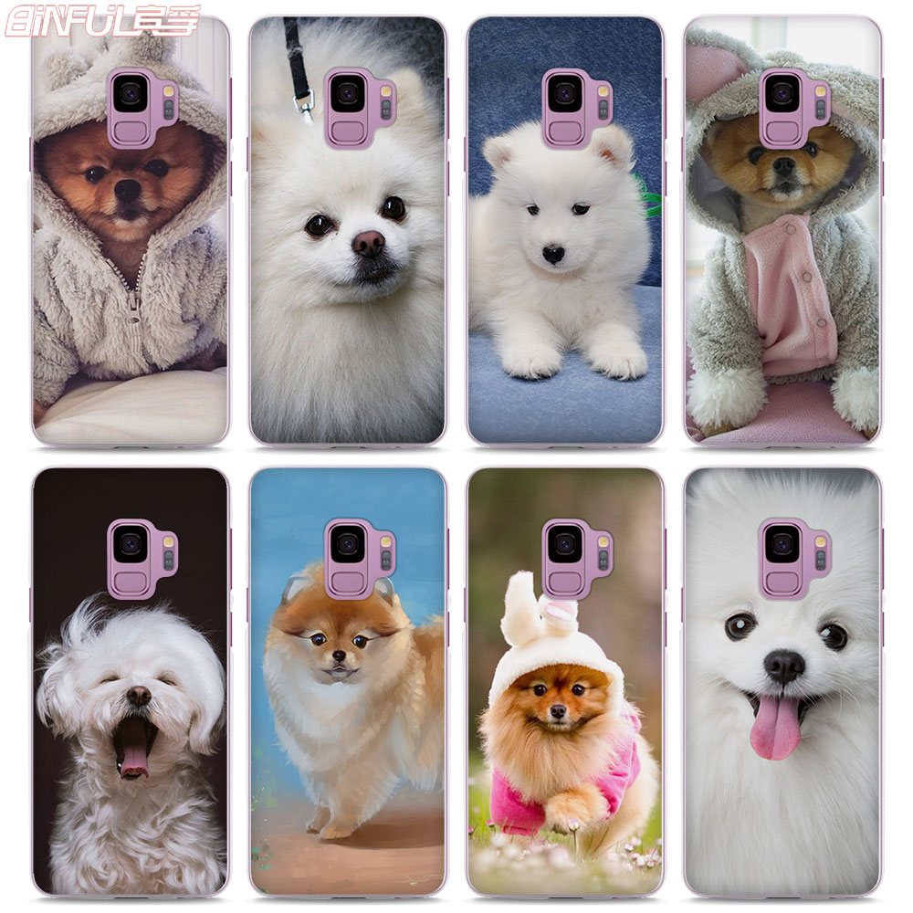 BiNFUL Hot Sale cute Pomeranian dogs style Transparent clear hard Phone Case Cover for Samsung S9 S9Plus S8 S8 Plus S6 S7 S5 Not