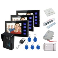 Home Set Home Set 7 TFT LCD Video Door Phone bells Door Intercom System Keyfobs IR Camera Code Keypad Remote+RFID Cards 1V3