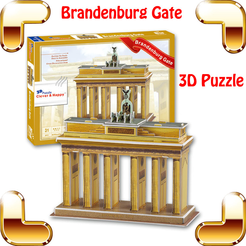 New year gift brandenburg gate 3d puzzle model building for 3d home decoration games