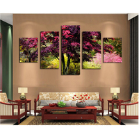 5D DIY Diamond Painting Landscape Diamond Painting Cross Stitch Red Tree 5pcs Needlework Home Decorative RS217