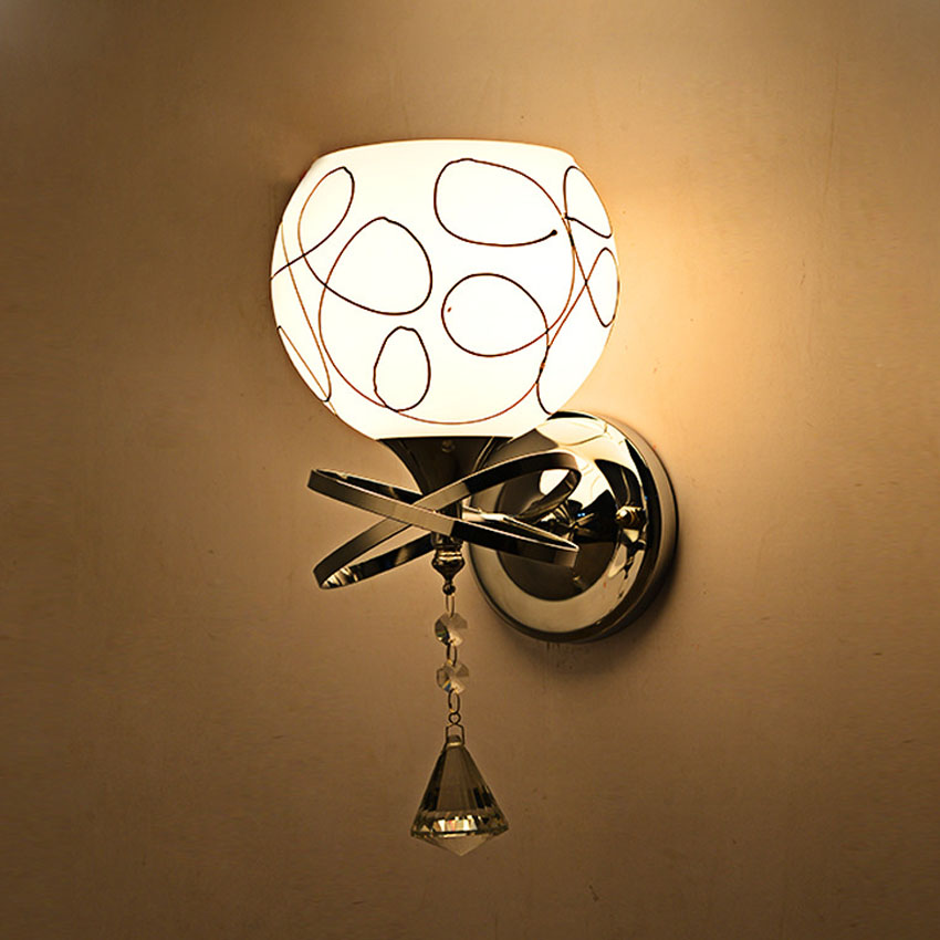Modern led Wall Lamps glass lampshade for Living Room Bedroom Decor,Crystal drop Sconce and Wall Lights Home Lighting Fixture for cadillac ats full add on style carbon fiber mirror covers 2014 2015