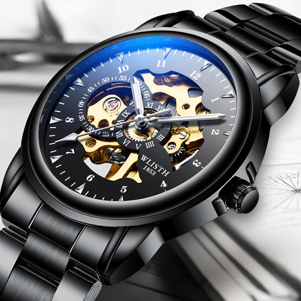 2019 Men Watches Top Brand Luxury WLISTH Mechanical Watches for Men Hour Erkek Kol Saati Luminous Black Skeleton Automatic Watch 1