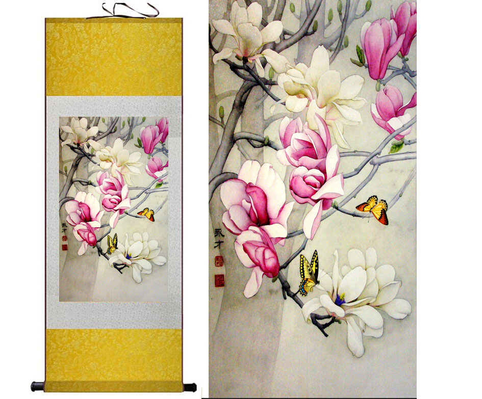 Spring Flower Painting Home Office Decoration Chinese Scroll