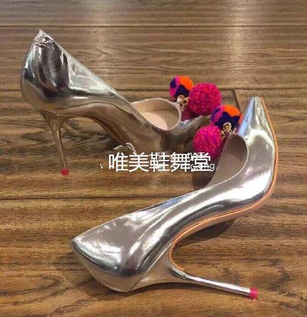 Newest 2016 Sweet Colored Plush Ball Silver Women Pumps Wedding Shoes Large Size 11 Pointed Toe Stiletto Ladies High Heels