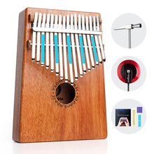 17 Keys Kalimba Mbira Thumb Piano Finger Piano Mahogany Wood Rounded/ Square Edges with Pickup kalimba piezo pickup mbira accessories thumb piano pick up musical instruments