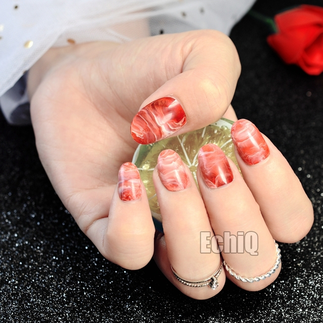 Fashion Short Fake Nails Gradient Red Acrylic False Marble Pattern DIY Nail Art Manicure Tools