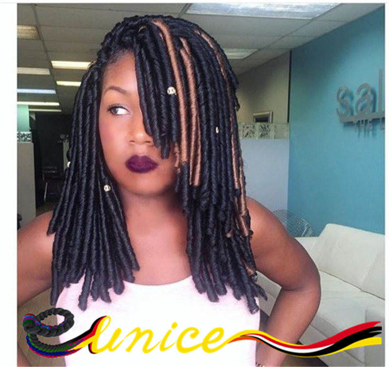 Burgundy Dreadlocks Crochet Braids Hair Extensions Synthetic Faux