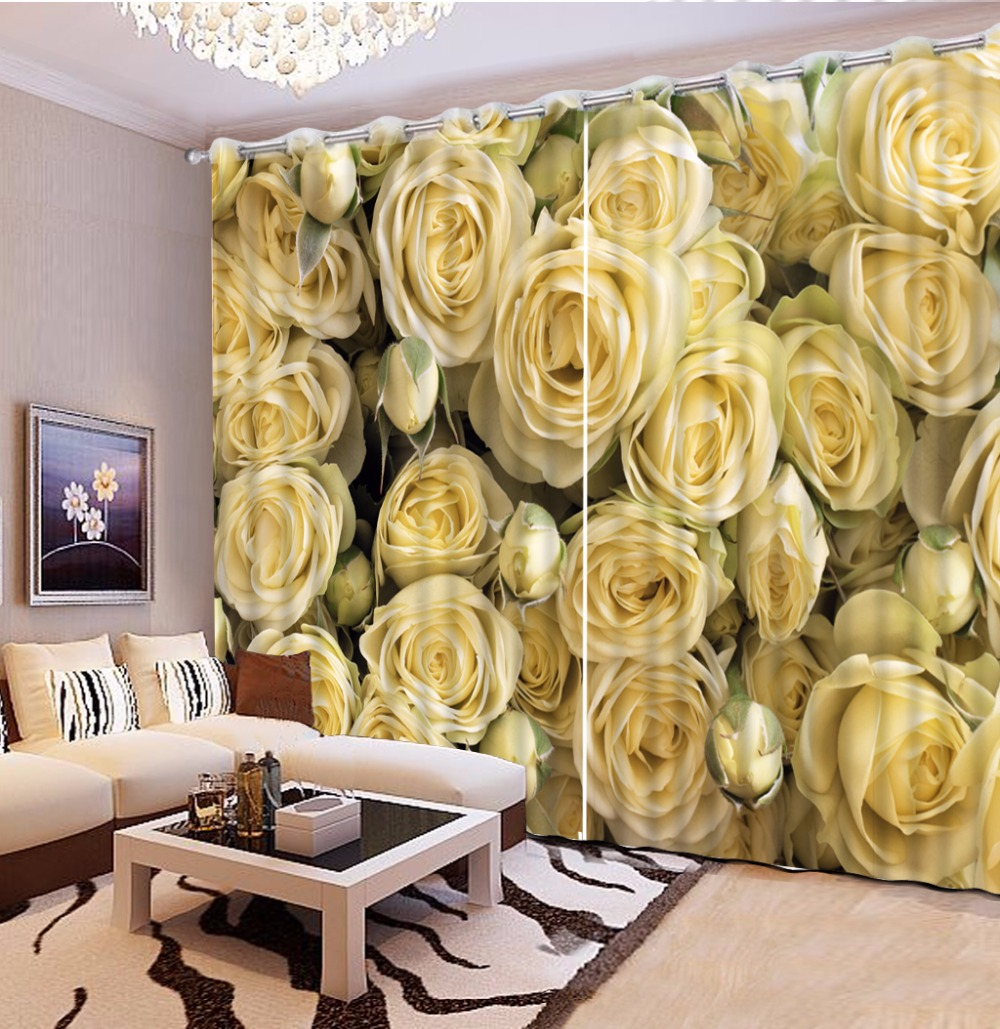 Luxury Living Room Curtains Yellow Rose 3D Curtains For The Bedroom Kitchen Modern Window Drapes Rideaux Cortinas Pillowcase
