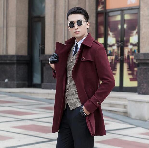 Wine red medium long wool coat men jackets and coats mens slim ...