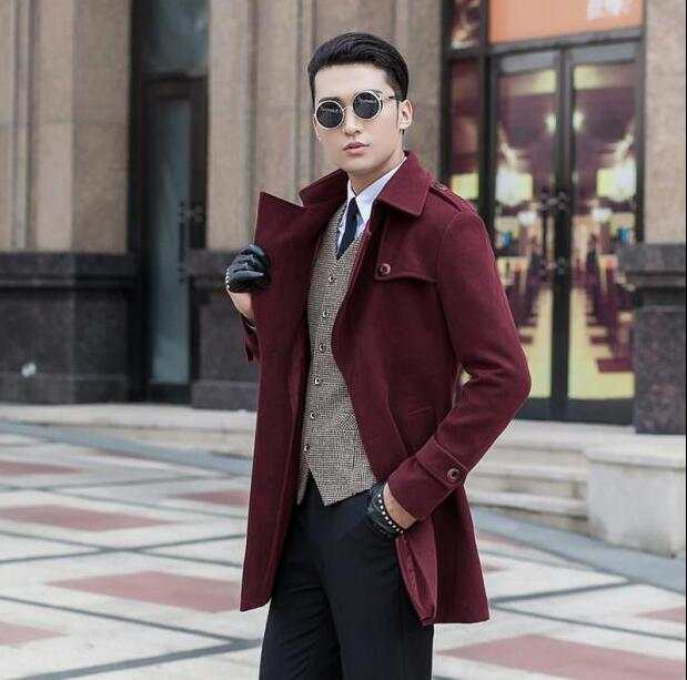 86788111983 placeholder Wine red medium-long wool coat men jackets and coats mens slim  winter trench coats