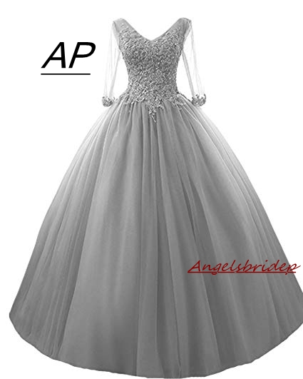 ANGELSBRIDEP Three Quarter Sleeves Quinceanera Dress 15 Years V Neck Charming Appliques Full Length Tulle Puffly