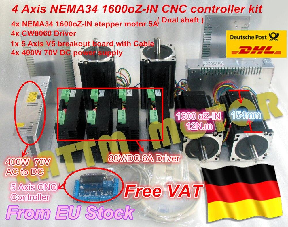 DE free VAT 4 Axis NEMA34 Stepper Motor Dual shaft 1600oz-in 12N.m CNC Controller Kit for Large size CNC Router Milling Machine great kit cnc wantai 4 axis nema34 stepper motor 85bygh450d 008 1090oz driver dq860ma 80v 7 8a 256micro us de jp ca se free