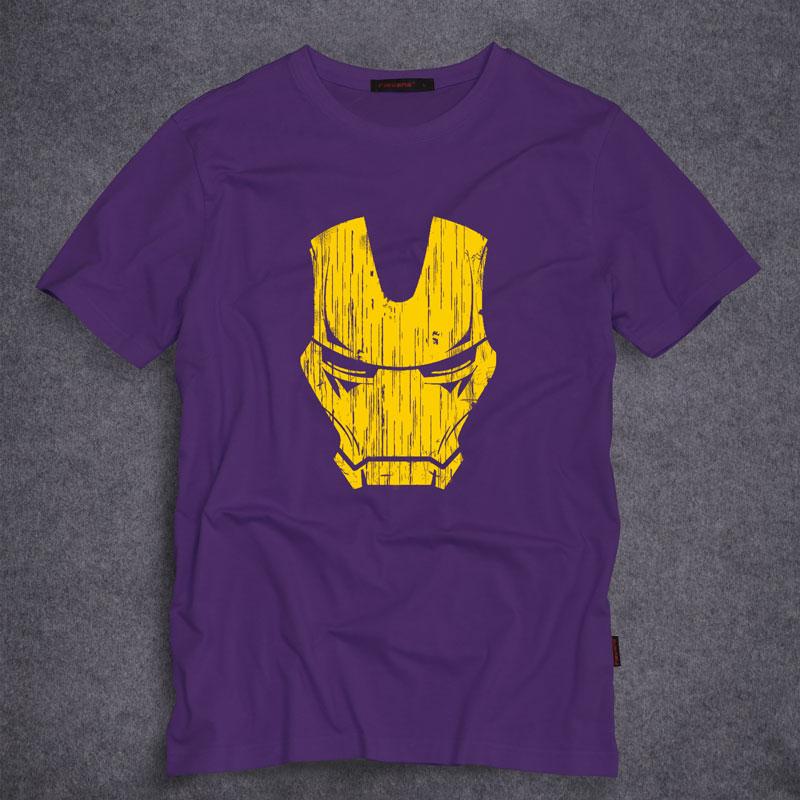 2016 New Summer Fashion Casual T Shirt Super Hero Iron man Mask Print Men Clothing O-Neck Tees Tops Tops Tees T-Shirt S-5XL