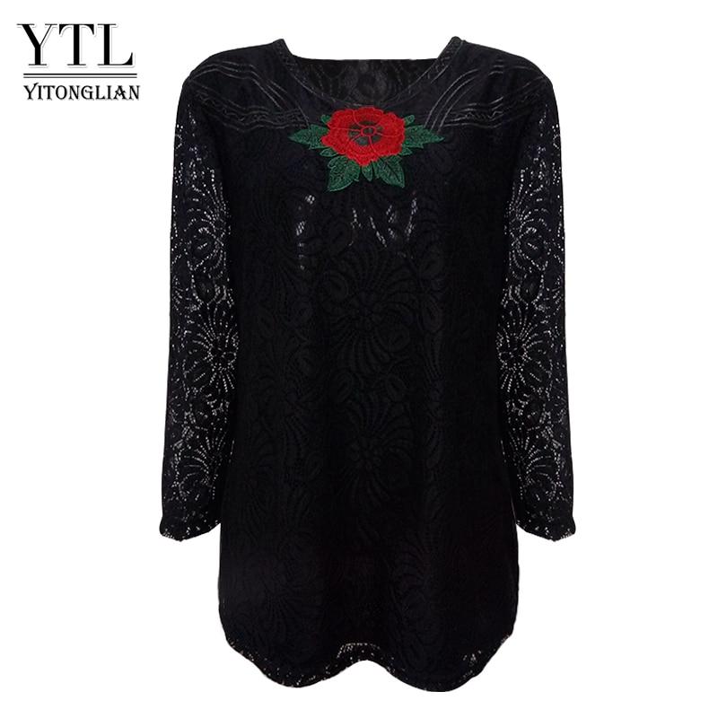0740067fbbf Yitonglian Women Autumn Plus Size Clothing Vintage Elegant Floral Lace  Blouse Long Sleeve Cotton Peplum Large Tunic Top H024