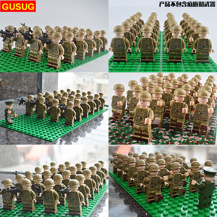 Army-Soldiers Toys Weapons Guns-Figure-Ww2 City Police World-War-Blocks Military-Team