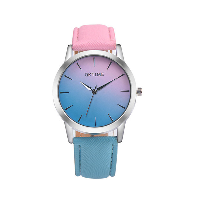 Fashion Quartz Watch Women Retro Rainbow Design Leather Band Analog Alloy Quartz