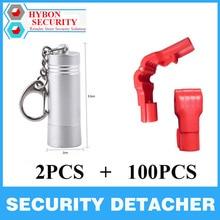 HYBON Wholesale 100 Pcs Display Hook Stop Lock + 2 pcs Mini 4500gs Magnetic Detacher for Stop Lock Factory Price