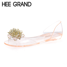 HEE GRAND Women Jelly Sandals 2017 New Summer Bling Bling Fashion Peep Toe Shoes Woman String Bead Flats Size Plus 35-40 XWT859