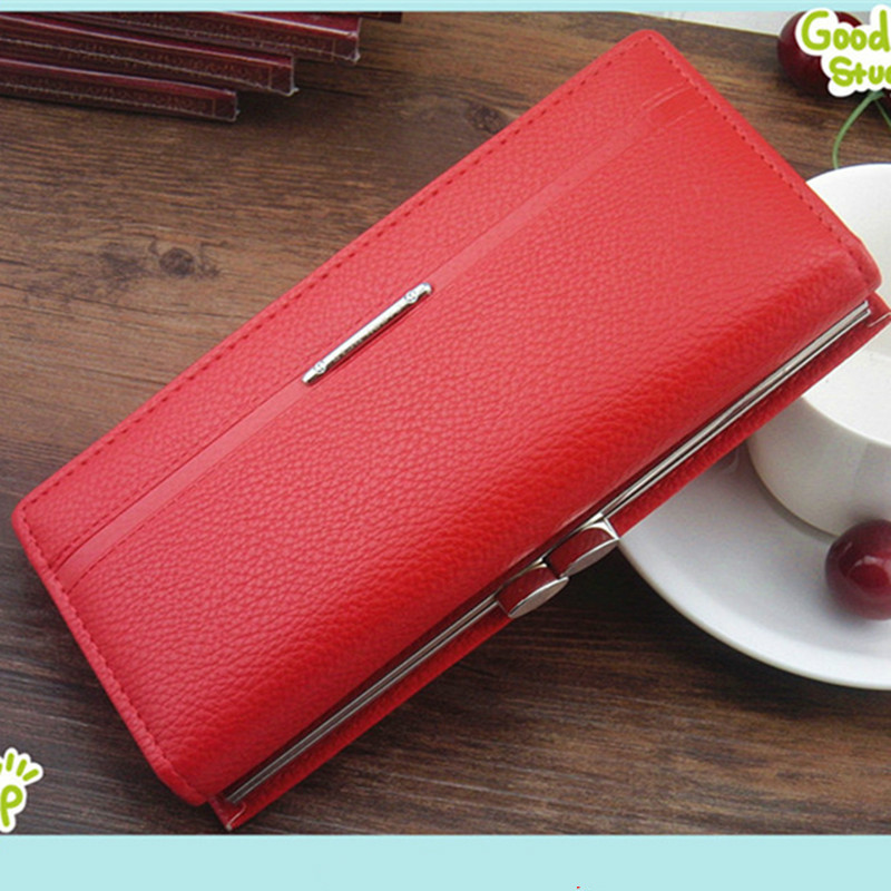 2016 Hot Fashion Women Wallets clasp handbag solid Leather bag clutch Ladies brand Cash phone card
