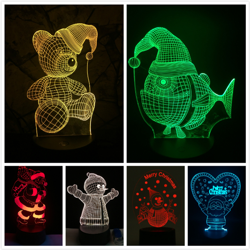 Xmas GIFT Series Christmas Decorations For Home 3D Lamp LED Night Light Luminaria Santa Claus Tree Snow Man Bear Fish KIDS TOYS 1 pc nonwoven red five star light cap santa claus easter christmas night party hat cap adult size christmas santa xmas light hat
