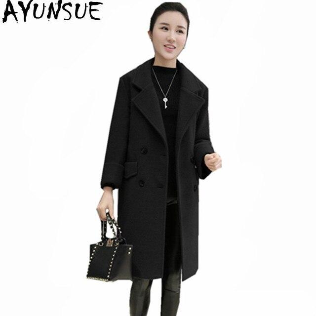 5eef7e49112d4 AYUNSUE Plus Size 4XL Cashmere Coats Warm Winter Jacket Women Woolen Long  Coat Black Thick Women s