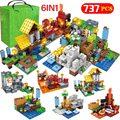 737 шт. 6 в 1 мой мир деревенские строительные блоки legoingly Minecrafted защита домов зомби Кирпичи DIY обучающие игрушки для детей мальчиков