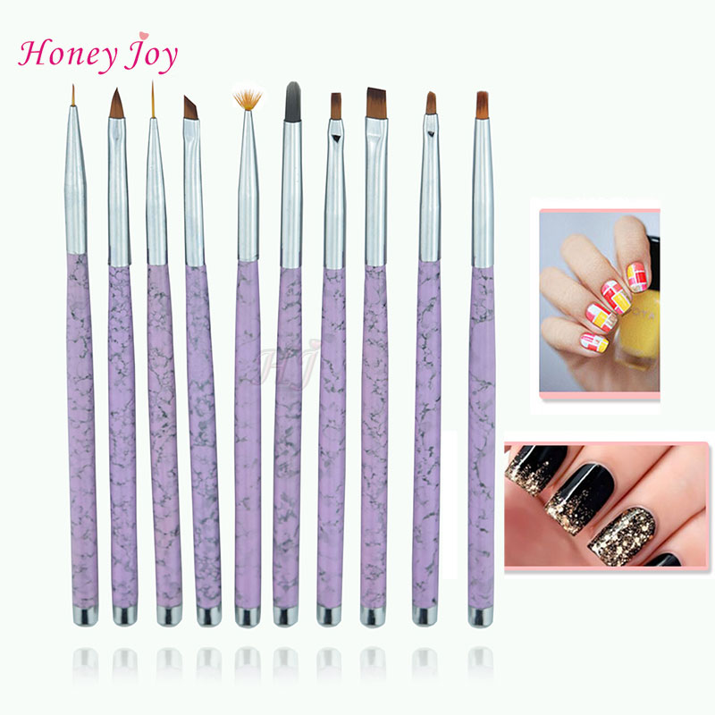 10pcs/set Full Collection Nail Art 3D Artist's Brushes Painting Pen Brush Marble Texture Metal Handle Manicure Nail Art Tool Set