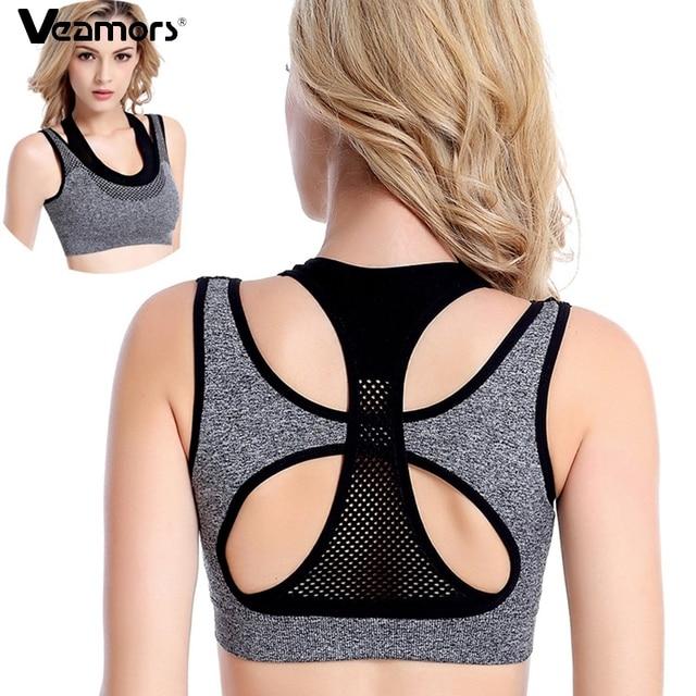 VEAMORS Professional Mesh Fitness Layered Sports Bra Women Sports Yoga Tops , Yoga Fitness Vest Bra Workout Running Push-up Bras