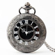 10 pcs Black Steampunk Retro Vintage Pocket Watch Necklace Chain Pendant Antique Men Quartz Pocket Watches 2017 Free Shipping