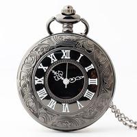 10 pcs Black Steampunk Retro Vintage Pocket Watch Necklace Chain Pendant Antique Men Quartz Pocket Watches 2017 Free Shipping