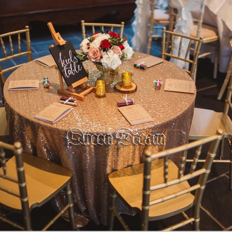 72 Inches Round Sequin Tablecloth Glitz Rose Gold Table Cloth Round Sequin  TableCloth Wedding Sequin Table Cloth