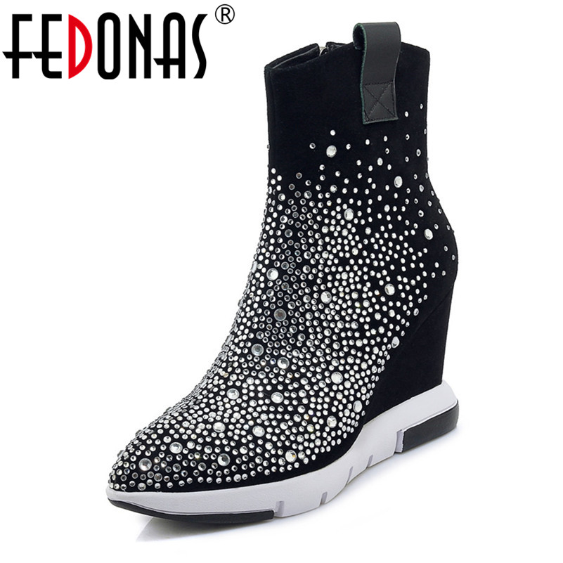 FEDONAS Top Quality Rhinestone Women Ankle Boots Wedges High Heeled Autumn Winter Wedding Party Shoes Woman